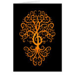 Musical Treble Clef Tree Yellow on Black Card