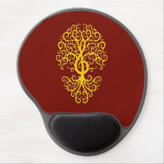Musical Treble Clef Tree Yellow on Red Gel Mouse Mat