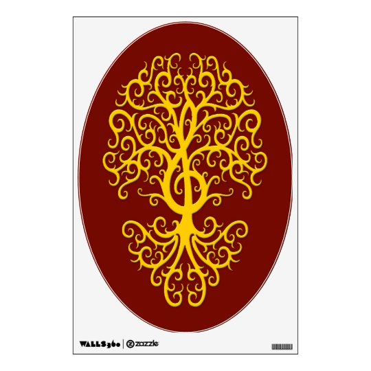 Musical Treble Clef Tree Yellow on Red Wall Sticker