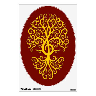 Musical Treble Clef Tree Yellow on Red Wall Skins