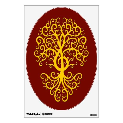 Musical Treble Clef Tree Yellow on Red Wall Graphic