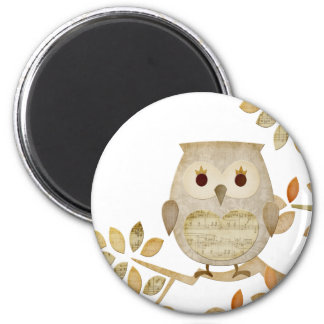 Musical Tree Owl 2 Inch Round Magnet