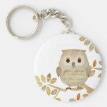 Musical Tree Owl Basic Round Button Keychain