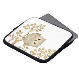 Musical Tree Owl Electronics Bag Laptop Sleeve