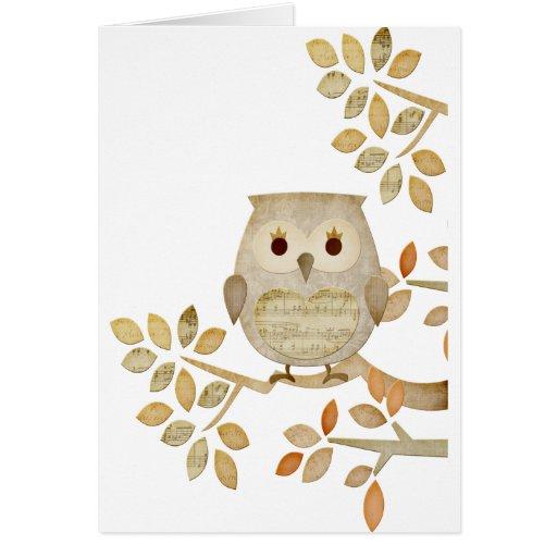 Musical Tree Owl Greeting Card