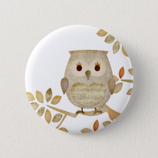Musical Tree Owl Pinback Button