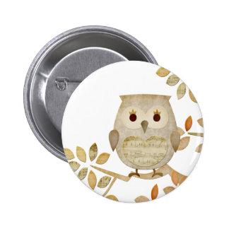 Musical Tree Owl Pinback Button