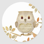Musical Tree Owl Round Sticker