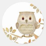 Musical Tree Owl Round Sticker