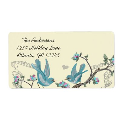 Musical Vintage Aqua Birds Grey Branch Labels Custom Shipping Labels