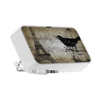 Musical Vintage Black Bird  Eiffel Tower Notebook Speaker