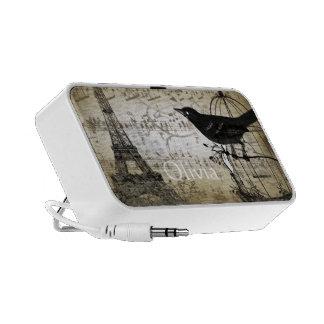 Musical Vintage Black Bird  Eiffel Tower Portable Speakers