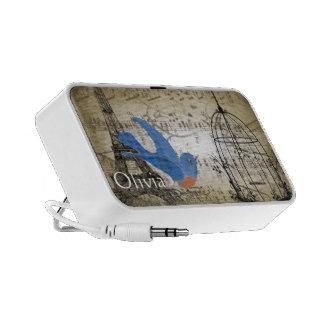 Musical Vintage Bluebird Bird Cage Eiffel Tower Mini Speakers