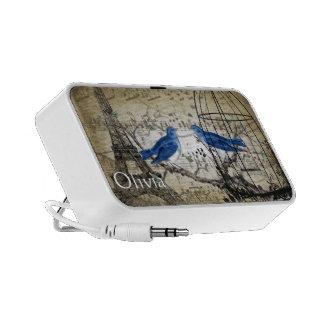 Musical Vintage Bluebird Bird Cage Eiffel Tower Mp3 Speaker