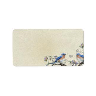 Musical Vintage Bluebirds Heart Address Labels