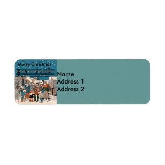Musical Vintage Christmas Carolers Return Address Label