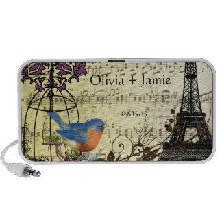 Musical Vintage Vinatge Bird Cage Eiffel Tower Laptop Speaker