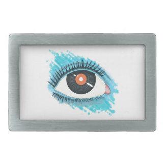 Musical vision: eye illustration with vinyl record belt buckle