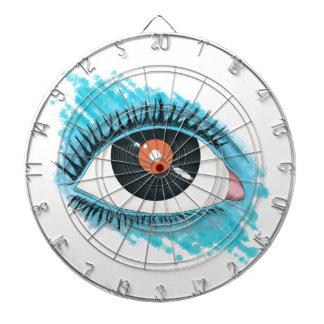 Musical vision: eye illustration with vinyl record dart board