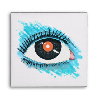 Musical vision: eye illustration with vinyl record envelope