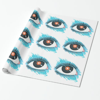 Musical vision: eye illustration with vinyl record wrapping paper