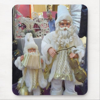 Musical White Father Christmas Mouse Pad
