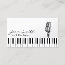 Musical White Piano & Voice Teacher Music Business Card