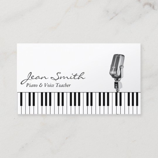 musical white piano voice teacher music business card zazzle com
