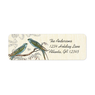Musical Wood Texture Vintage Birds Labels