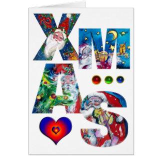 MUSICAL XMAS PARTY,SANTA , RED BOW AND TEDDY BEAR GREETING CARD