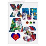 MUSICAL XMAS PARTY,SANTA  WITH VIOLIN GREETING CARD
