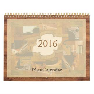 MusiCalendar 2016, Music Instruments Illustrations Calendar