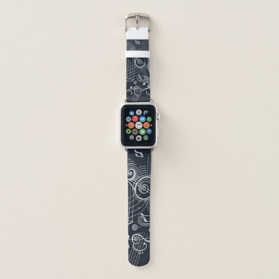 """Musically Inspired"" Black and White Design!! Apple Watch Band"