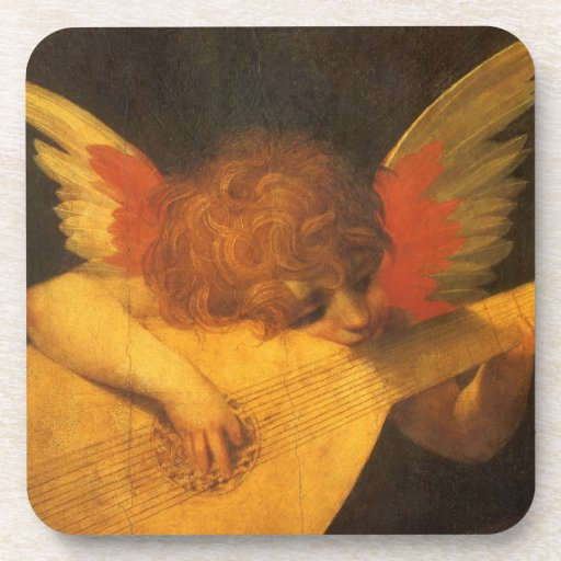 Musician Angel by Rosso Fiorentino, Vintage Art Coaster