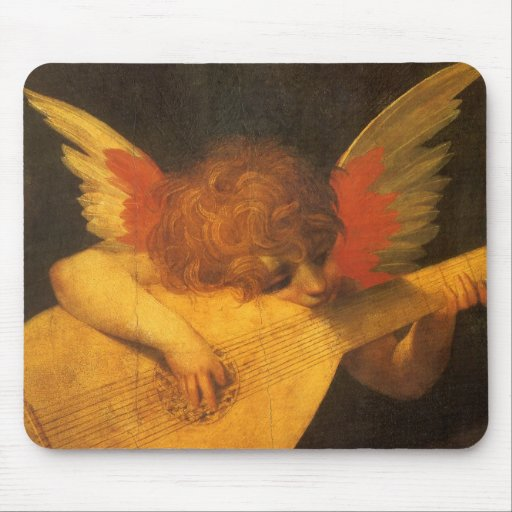 Musician Angel by Rosso Fiorentino, Vintage Art Mouse Pad