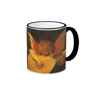 Musician Angel by Rosso Fiorentino, Vintage Art Ringer Coffee Mug
