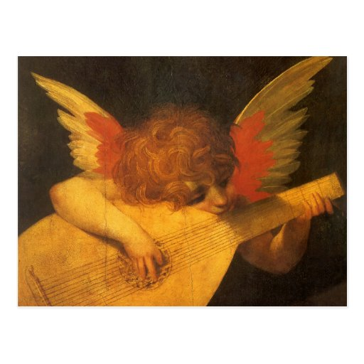 Musician Angel by Rosso Fiorentino, Vintage Art Postcards
