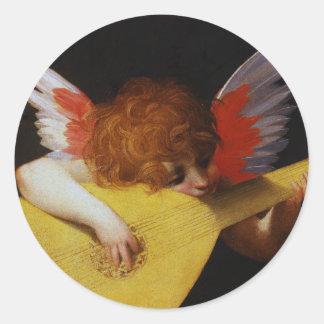 Musician Angel, Rosso Fiorentino Classic Round Sticker