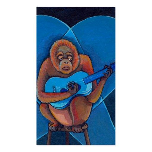 Musician art fun blues guitarist orangutan monkey business card