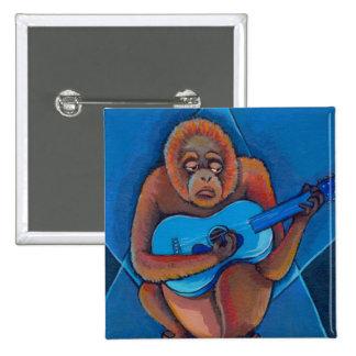 Musician art fun blues guitarist orangutan monkey 2 inch square button