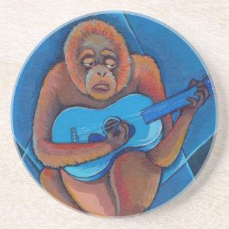 Musician art fun blues guitarist orangutan monkey sandstone coaster