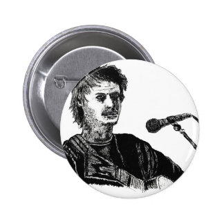 Musician at the mic pinback button
