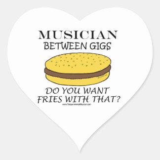 Musician Between Gigs Heart Sticker