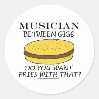 Musician Between Gigs Round Sticker