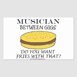 Musician Between Gigs Rectangle Stickers