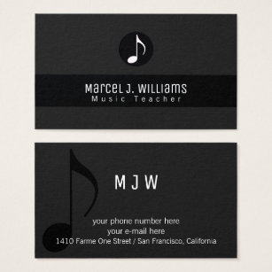 Music business cards 8000 music business card templates musician black business card with music note cheaphphosting Images