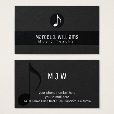 Professional Business musician black business card with music note