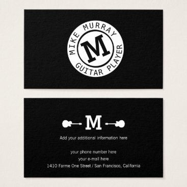 Professional Business musician black white business card with monogram