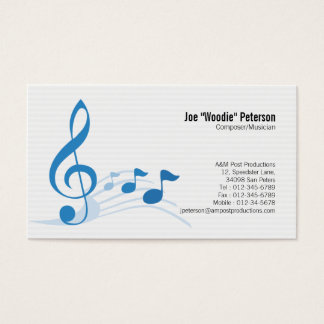 Musician Business Card Treble Clef Music Notes