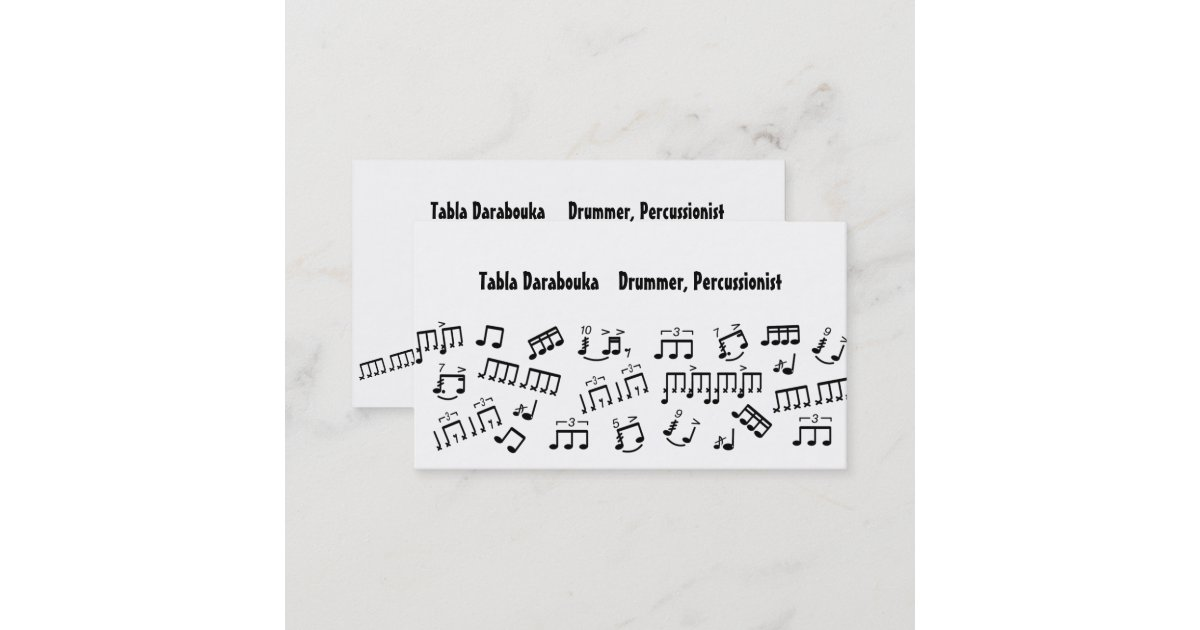 Musician Business Cards Percussion Drummer Notes | Zazzle.com